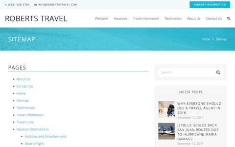 Screenshot of Site Map Page robertstravel.com - Sitemap | Roberts Travel - captured July 3, 2018