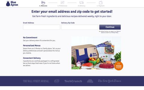 Screenshot of Signup Page blueapron.com - Blue Apron: Fresh Ingredients, Original Recipes, Delivered to You - captured Oct. 20, 2015