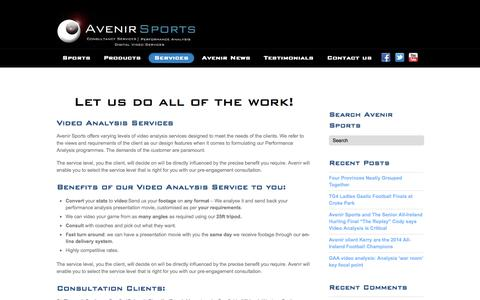 Screenshot of Services Page avenirsports.ie - Video Analysis Services | Avenir Sports - captured Oct. 4, 2014