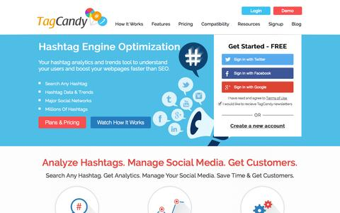 Screenshot of Home Page tagcandy.com - Tag Candy - Hashtag Analytics, Trends, and Tracking - captured Sept. 30, 2014
