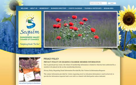 Screenshot of Privacy Page sequimchamber.com - Privacy Policy «  Sequim Washington Chamber of Commerce - captured Oct. 22, 2018