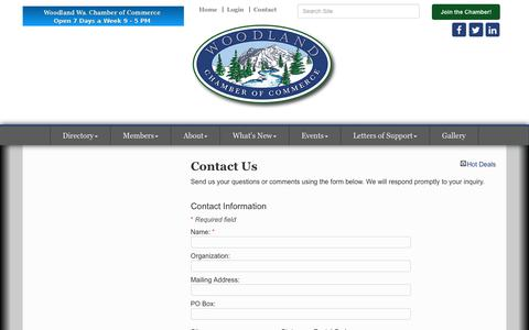 Screenshot of Contact Page woodlandwachamber.com - Contact Us - Woodland Chamber of Commerce & Tourism Info. Center - WA, WA - captured Oct. 22, 2017