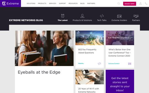 Screenshot of Blog extremenetworks.com - Extreme Networks Blog - Extreme Networks - captured Nov. 19, 2019