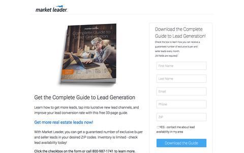 """Screenshot of Landing Page marketleader.com - Download Market Leader's """"Complete Guide to Lead Generation"""" - captured Aug. 18, 2016"""
