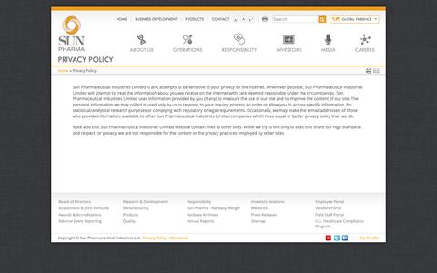 Screenshot of Privacy Page sunpharma.com - Privacy Policy | Sun Pharmaceutical Industries Ltd. - captured May 23, 2019