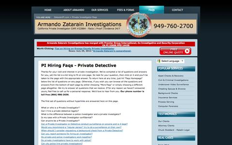 Screenshot of FAQ Page zatarainpi.com - Facts about Private Investigators and Detectives Homepage (866) 986-2636 - captured Oct. 4, 2014