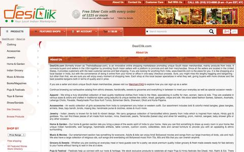 Screenshot of About Page desiclik.com - DesiClik.com :: Largest Online Indian Marketplace in USA - captured Sept. 19, 2014