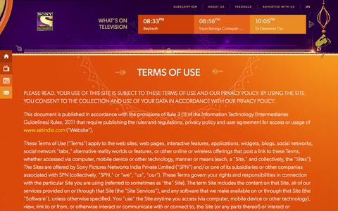 Screenshot of Terms Page setindia.com - Sony Entertainment Television (India) | SET India - captured Oct. 28, 2017