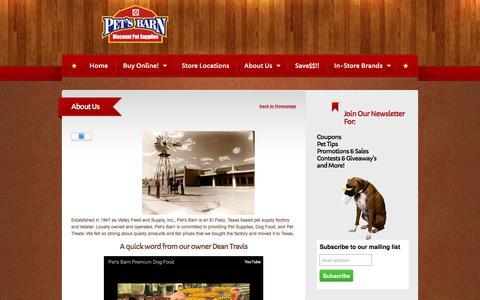 Screenshot of About Page petsbarn.com - Pet's Barn   Pet's Barn About Us   Pet's Barn Story   Pet's Barn - captured Dec. 8, 2015