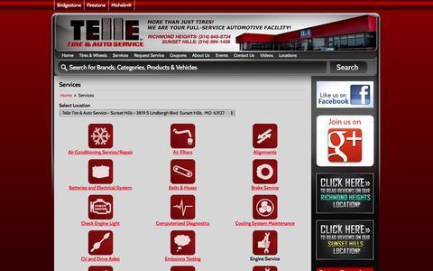 Screenshot of Services Page telletire.com - Services Telle Tire & Auto Service - captured Nov. 5, 2014