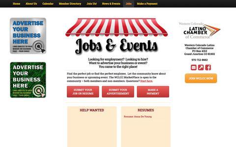 Screenshot of Jobs Page wclatinochamber.org - WCLCC MarketPlace - Western Colorado Latino Chamber of Commerce - captured Feb. 21, 2018