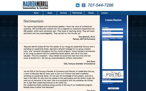 Screenshot of Testimonials Page maureenmerrill.com - Testimonials | Maureen Merrill - captured Jan. 26, 2016