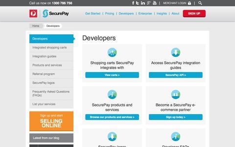 Screenshot of Developers Page directone.com.au - Developers - SecurePay - captured April 11, 2017