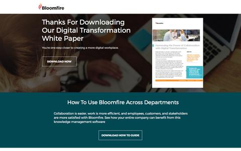 Screenshot of Landing Page bloomfire.com captured March 10, 2017