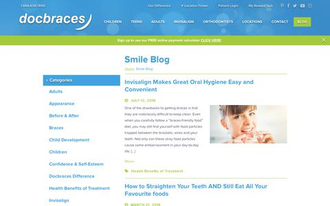 Screenshot of Blog docbraces.com - Orthodontist, Braces and Invisalign News - Smile Blog | Docbraces - captured Aug. 7, 2018