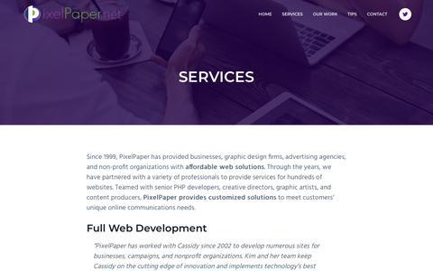 Screenshot of Services Page pixelpaper.net - Services - PixelPaper - captured Oct. 19, 2018