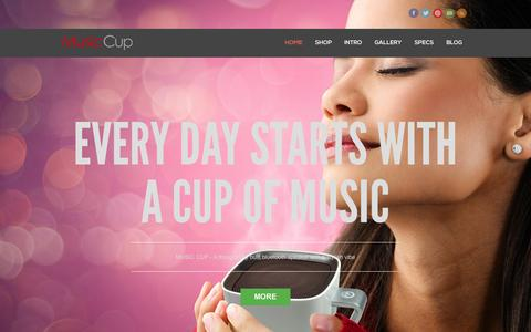 Screenshot of Home Page mymusiccup.com - Music Cup Bluetooth Speaker | Enjoy every day with a cup of music - captured Sept. 24, 2014