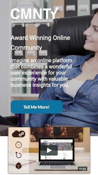 Screenshot of Landing Page  cmnty.com - Online Community