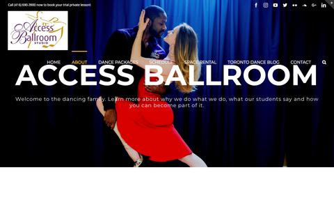 Screenshot of About Page studioaccessballroom.com - About - Access Ballroom - Dance Lessons and Classes - captured July 10, 2018