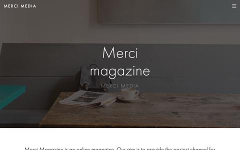 Screenshot of About Page merci-magazine.com - About — merci media - captured Oct. 17, 2018