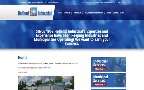 Screenshot of Home Page hollandindustrial.com - Holland Industrial | Henderson, NC | Home - captured July 21, 2018