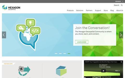 Screenshot of Home Page hexagongeospatial.com - Hexagon Geospatial - captured Jan. 29, 2016