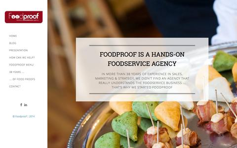 Screenshot of Home Page foodproof.be - Foodproof hands-on foodservice agency - captured Sept. 30, 2014
