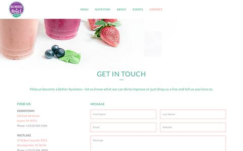 Screenshot of Contact Page blendersandbowls.com - Blenders and Bowls     CONTACT - captured July 29, 2016