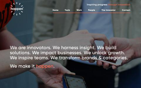 Screenshot of Home Page happen.com - Happen - Global Innovation Consultancy - captured Feb. 13, 2019
