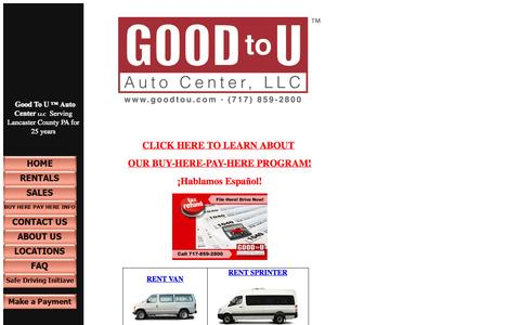 Screenshot of Home Page goodtou.com - Rent van in PA here! Sprinter for rent! Car for rent! Van for rent!  Sprinter for rent and more here at Good To U Auto Rentals LLC in Lancaster  county PA! - captured Oct. 2, 2014