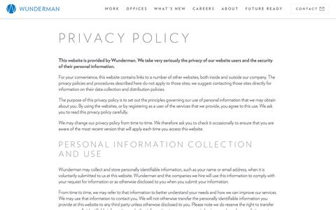 Screenshot of Privacy Page wunderman.com - Privacy Policy | Wunderman - captured March 3, 2018