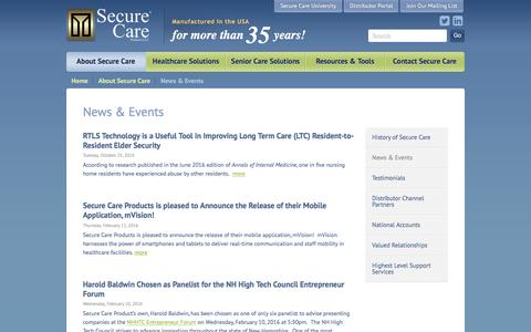 Screenshot of Press Page securecare.com - News & Events | Secure Care - captured Nov. 28, 2016