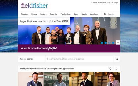 Screenshot of Home Page fieldfisher.com - Fieldfisher   A law firm built around people - Fieldfisher - captured Sept. 22, 2018