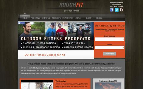 Screenshot of Home Page roughfit.com - RoughFit- Outdoor Fitness - captured Oct. 7, 2014