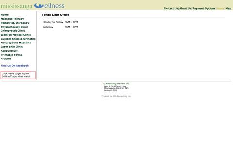 Screenshot of Hours Page mississaugawellness.com - Mississauga Wellness - Car Accident Rehabilitation Centre - Mississauga Churchill Meadows Canada - captured Oct. 9, 2014