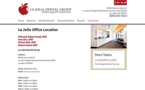 Screenshot of Contact Page Maps & Directions Page lajolladentalgroup.com - La Jolla CA Dentist   La Jolla Dental Group - captured July 10, 2016