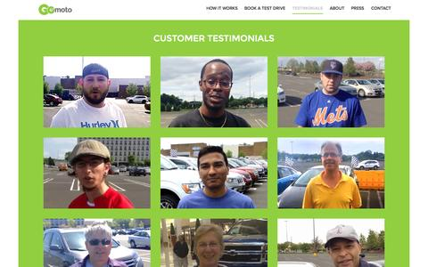 Screenshot of Testimonials Page shopgomoto.com - GoMoto - captured Oct. 3, 2014
