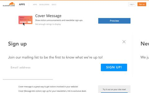 Cover Message - Cloudflare Apps