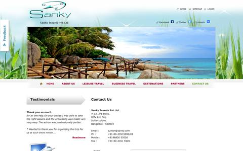 Screenshot of Contact Page sankytravels.com - Contact: Travel Agency,Agents|International,Domestic  Travel Bangalore - captured Oct. 4, 2014