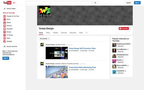 Screenshot of YouTube Page youtube.com - Yowza Design  - YouTube - captured Oct. 26, 2014