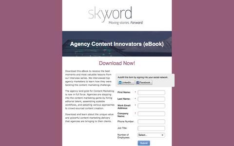 Screenshot of Landing Page skyword.com - Skyword: Agency Content Innovators - captured April 21, 2016