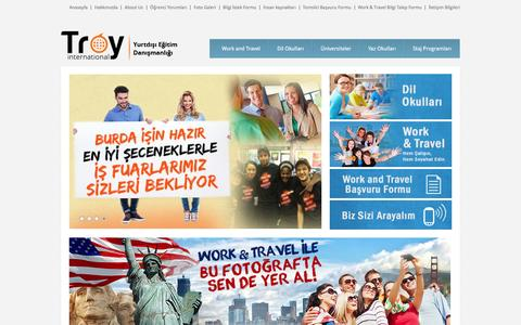 Screenshot of Home Page troyint.com - Work and Travel - Herkese Uygun Program Maliyetimiz Var - captured May 24, 2016