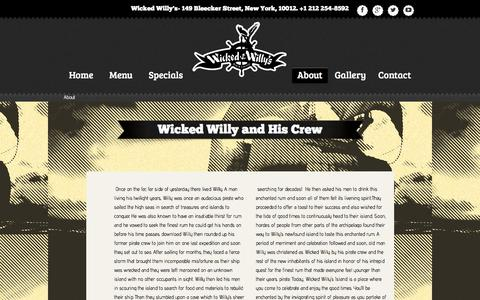Screenshot of About Page wickedwillys.com - About | Wicked Willy's - captured Jan. 12, 2016