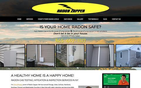 Screenshot of Home Page radonzapper.com - Radon Gas Testing, Mitigation & Inspections in Middletown & Walden NY   Radon Zapper - captured Sept. 21, 2018