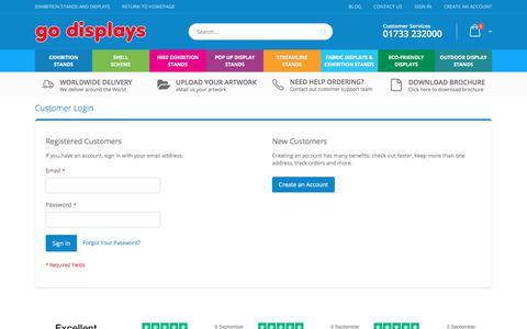 Screenshot of Login Page go-displays.co.uk - Customer Login - captured Sept. 14, 2019