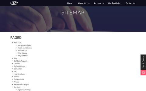 Screenshot of Site Map Page immwit.com - Sitemap - IMM Web Information Technology - captured Sept. 30, 2017
