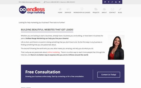 Screenshot of Home Page endlessrangemarketing.com - Endless Range Marketing - A Global Internet Marketing Company - captured Sept. 19, 2014
