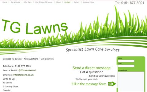 Screenshot of Contact Page tglawns.co.uk - Contact Lawn Company Wirral - Lawn Care Wirral - Lawn Treatment - Grass Cutting - TG Lawns - Specialist Lawn Care Services - Wirral lawn treatment - Garden Moss Control - Tel 0151 677 3001 - captured Oct. 26, 2014