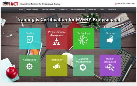 Screenshot of Home Page iactglobal.in - iACT Global - Training in Six Sigma, Project Management, Supply Chain, ITIL, IFRS - captured Sept. 24, 2014