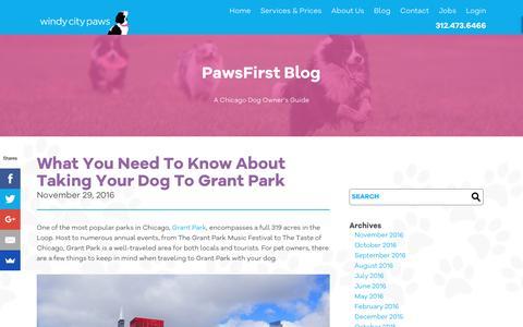 Screenshot of Blog windycitypaws.com - A Chicago Dog Owner's Guide - Blog - Windy City Paws - captured Nov. 30, 2016